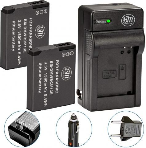 BM Premium 2 Pack of DMW-BCM13E Batteries and Charger for Panasonic Lumix DMC-ZS50 Digital Camera