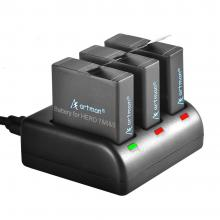 Artman 3-pac 1480mah Replacement Batteries for GoPro Hero 5/6/7/8 Black and 3-Channel LED USB Charger