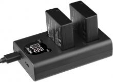 Grepro DMW-BLG10 Dual USB LCD Battery Charger with 2 Pack Battery for Panasonic DMC-LX100